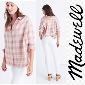 MADEWELL Central Dusty Rose Plaid Shirt